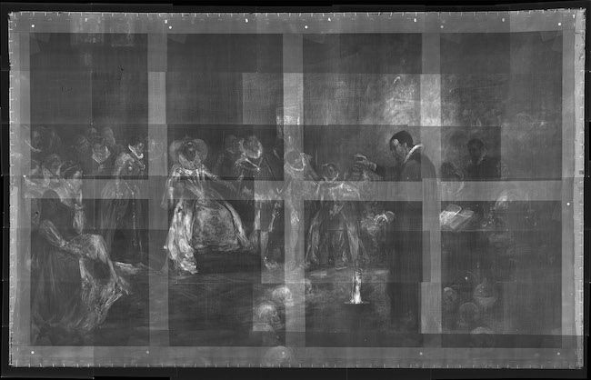 """X-ray of Henry Gillard Glindoni, """"John Dee performing an experiment before Queen Elizabeth I"""" (late 19th century), showing skulls in a ring around John Dee"""