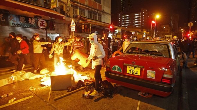Rioters in Hong Kong clash with police