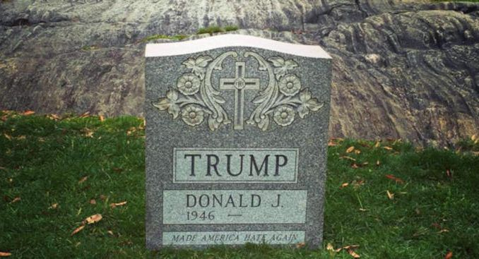 Donald Trump's tombstone on display in New York's central park
