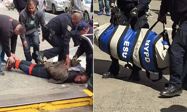 NYPD zip up alive man in a body bag