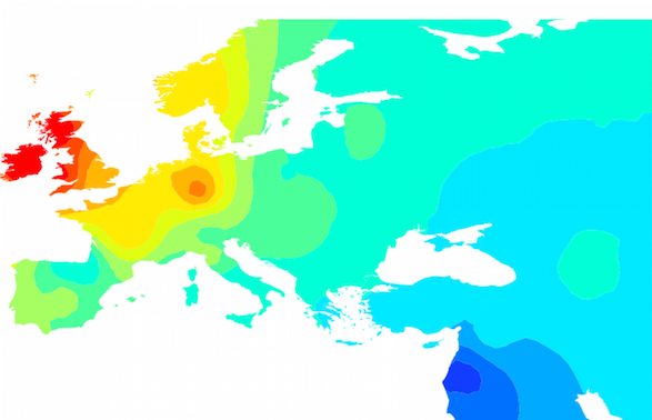 This heat map shows how the DNA taken from the 4,000-year-old bones discovered in Northern Ireland relates to DNA of modern European populations. The red coloring over the British Isles indicates that the bones are most like the modern populations there. (From the Proceedings of the National Academy of Sciences.)