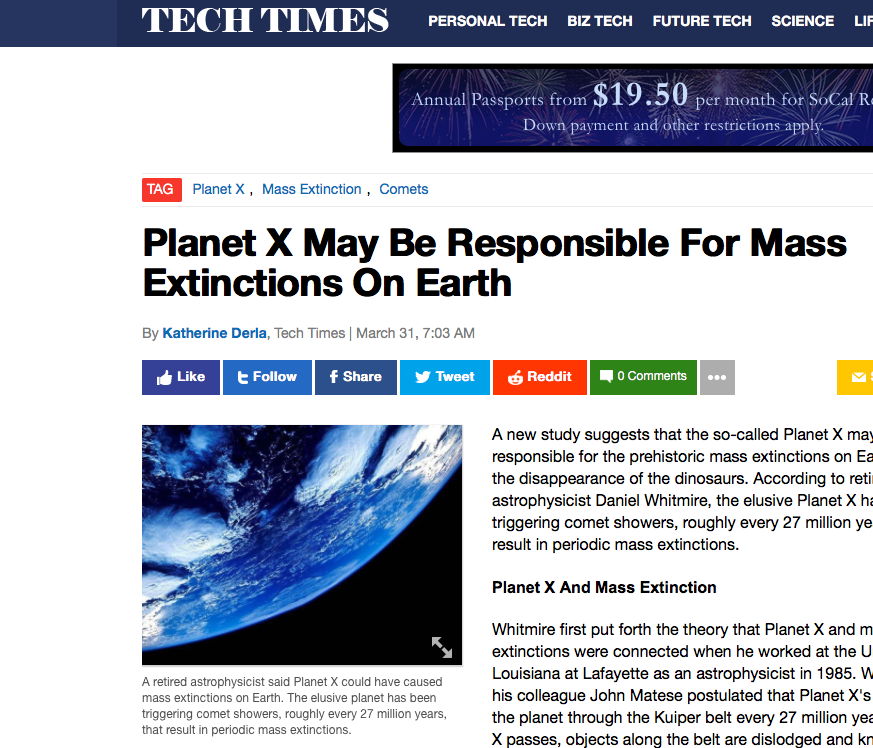 "Disclosure Soon? Media Says Planet X May Cause ""Mass Extinctions"""