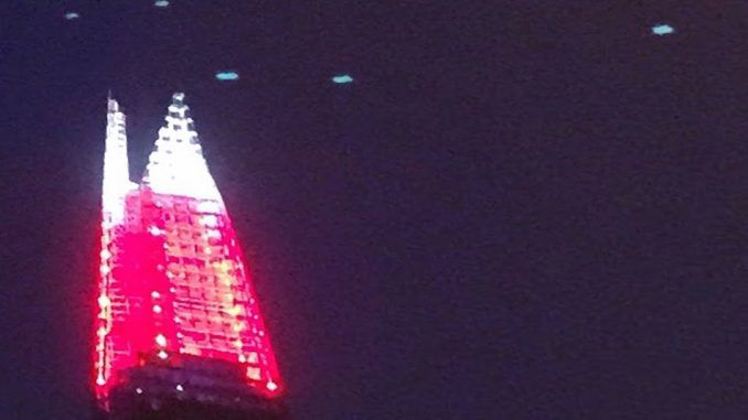 Fleet of UFOs spotted over London's 'The Shard'