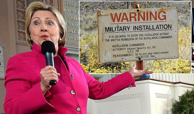 Hillary Clinton promises to disclose the truth about Area 51 if she is elected President