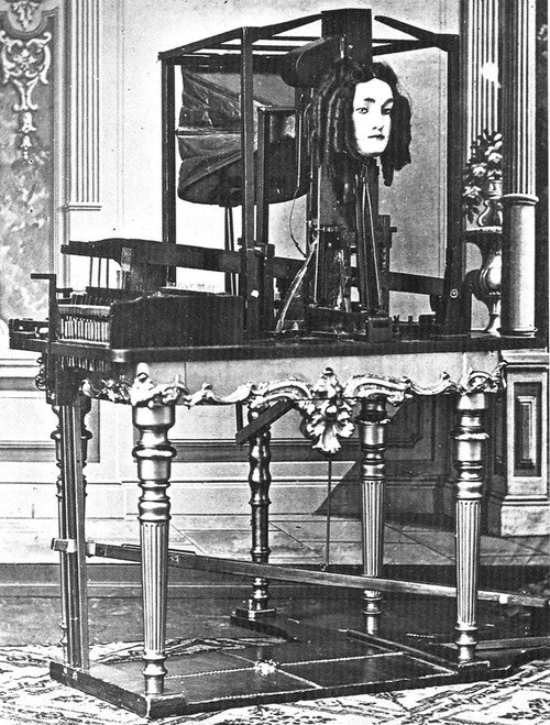 Sideshow automaton's voices were often faked by hiding a person somewhere beneath the apparatus. Viewers of the Euphonia were impressed because there was clearly no hidden chamber for such a ruse to take place. (Photo: Public Domain)