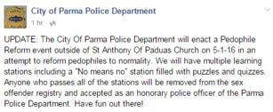 Parody Parma police department facebook page