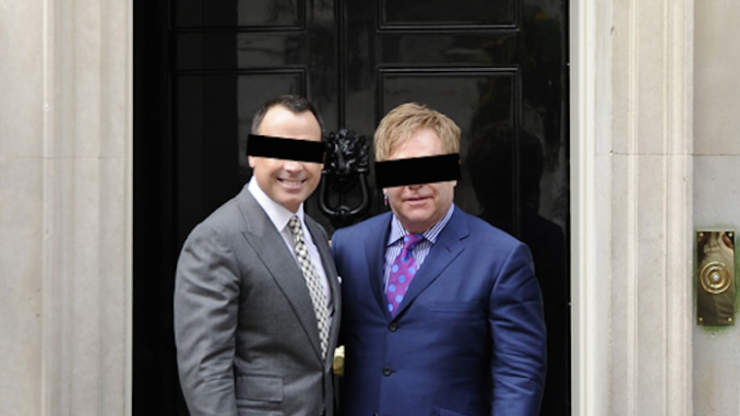 Lawyers for Elton John and husband David Furnish have launched an aggressive campaign to silence media outlets from naming the famous pair in an attempt to prevent details of their celebrity threesome scandal from going viral online.