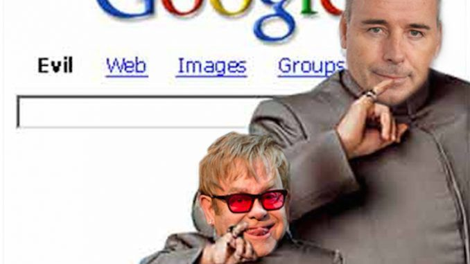 Google has blocked dozens of search links that contain references to the 'celebrity threesome' following legal requests from lawyers representing Elton John and husband David Furnish