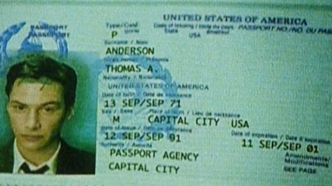 Neo's passport from The Matrix movie expired on September 11, 2001