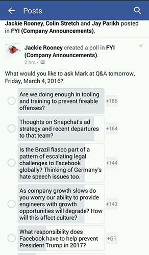 Facebook Trump poll for employees only