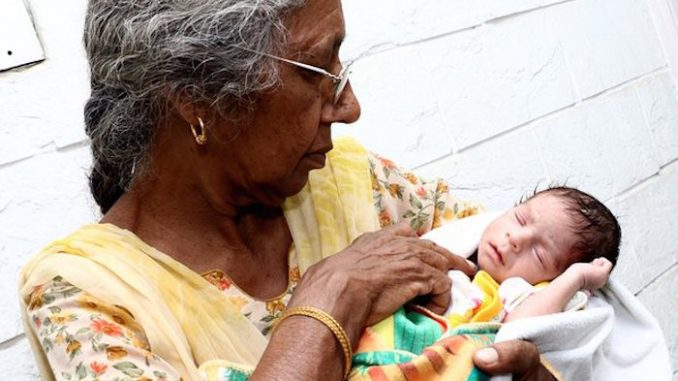 Elderly Indian woman gives birth for the first time