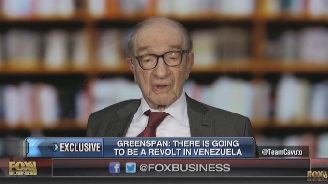 Alan Greenspan tells Fox News that Venezuela is now under martial law and that 'America is next'