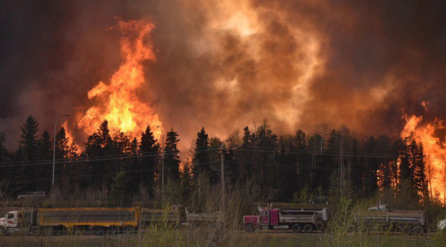 Wildfire along highway 63 Fort McMurray, Alberta Canada