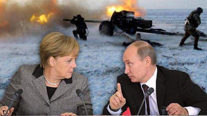 President Vladimir Putin demands that Merkel and other European leader stop shelling Donbass
