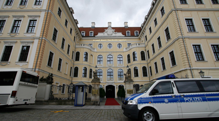 The luxurious, heavily fortified Taschenbergpalais hotel