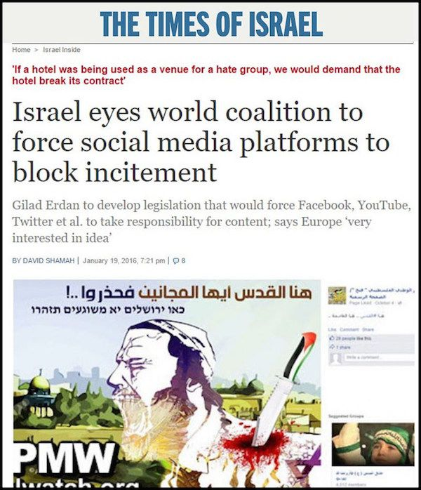 The Times of Israel story about internet censorship