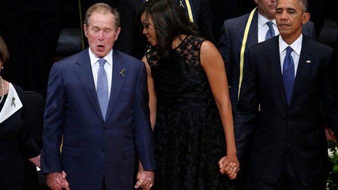 Former President George W. Bush obviously thinks this state of affairs is worth celebrating, as this bizarre footage of him singing and dancing at the Dallas memorial for five slain police officers shows.