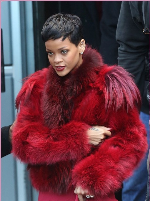 Illuminati Dream Coat: Rihanna wearing a real fur pelt