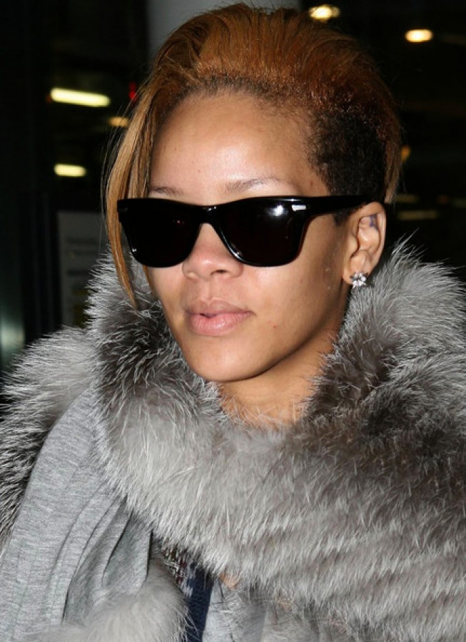 Rihanna wearing fur on a night out