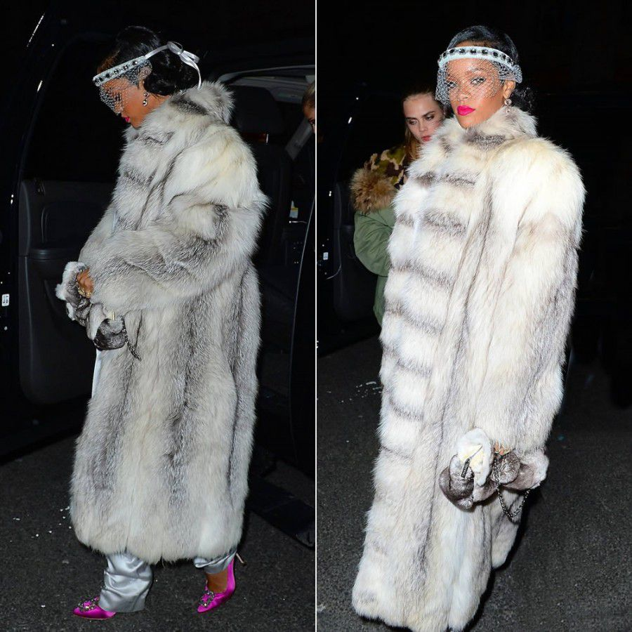Rihanna wearing real fur at her New Years Eve party in NYC at the 40/40 Club