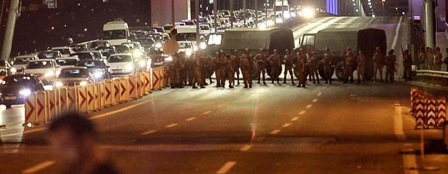 Turkish soldiers block Istanbul's Bosphorus Bridge. Photograph: Gokhan Tan/Getty Images