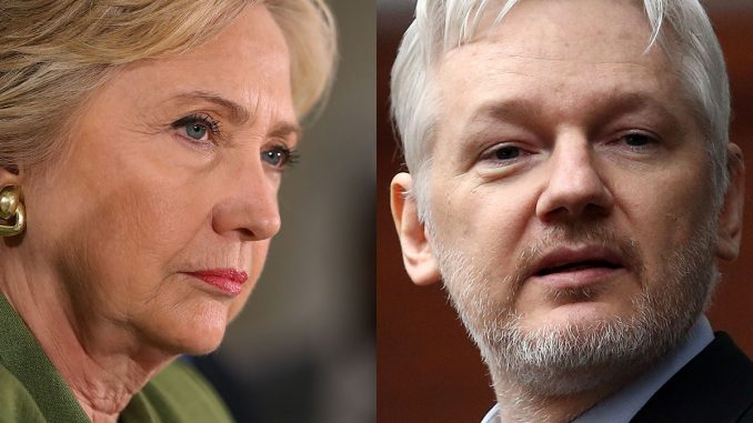 Assange says that Wikileaks emails show that Hillary Clinton funded ISIS in Syria in order to oust President Assad