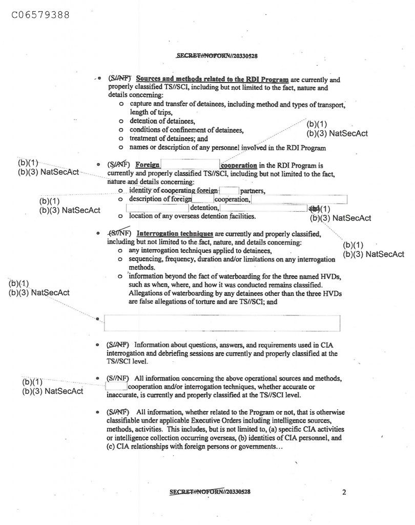 "This page from a 2008 CIA guidance document designates as top secret the ""treatment of detainees,"" their ""conditions of confinement,"" and certain ""false allegations of torture,"" which were later shown to have merit."