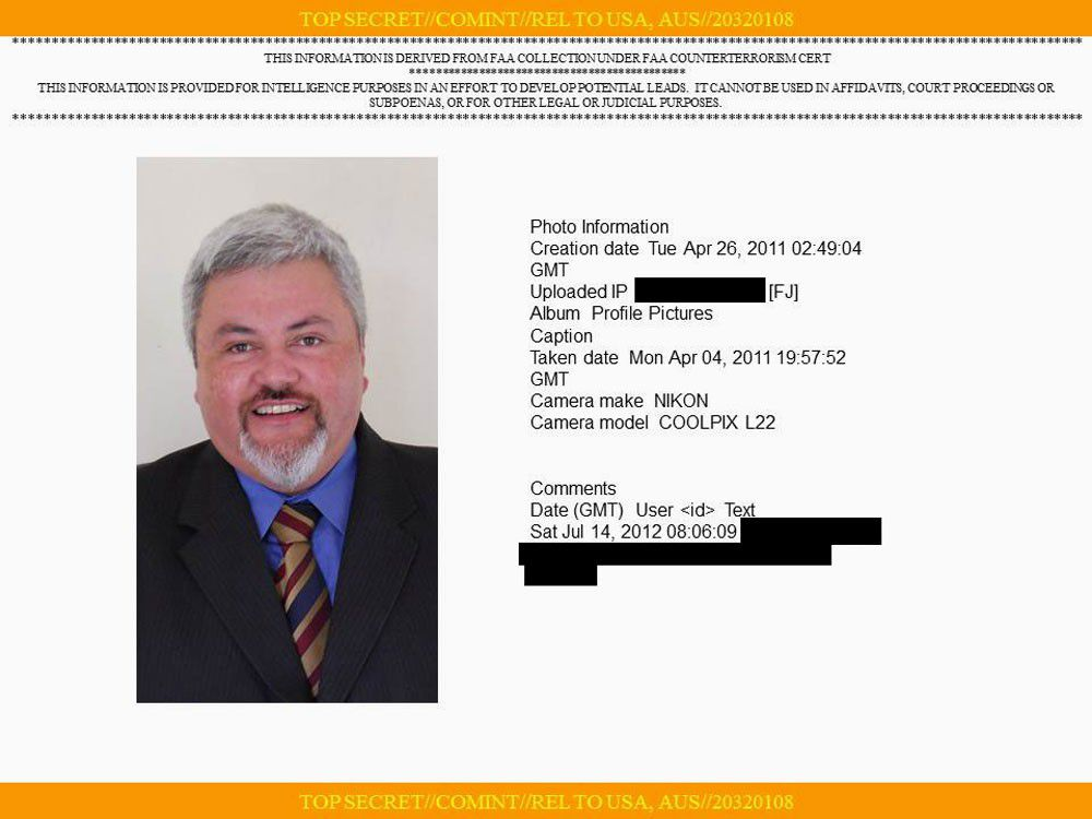 The NSA surveillance file shows a photo of Fullman that he uploaded to Facebook. Source: NSA