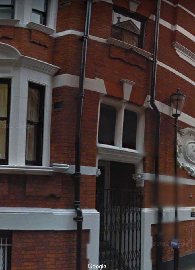 The Ecuadorian embassy wall scaled by the intruder at 2:47am on Sunday.