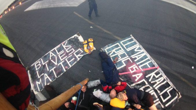 Black Lives Matter Protesters Close Runway At London City Airport