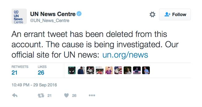 UN News Center trump tweet