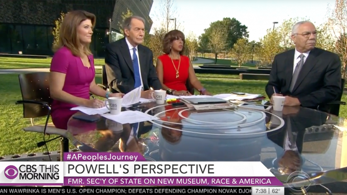 Colin Powell Heckled By Protester During Live TV Interview