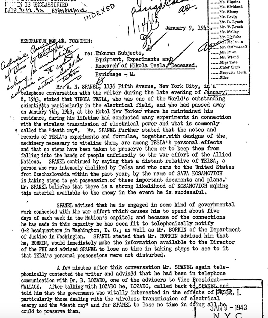 Page 5 of one of the FBI's declassified files on Nikola Tesla, describing his infamous 'Death Ray' technology