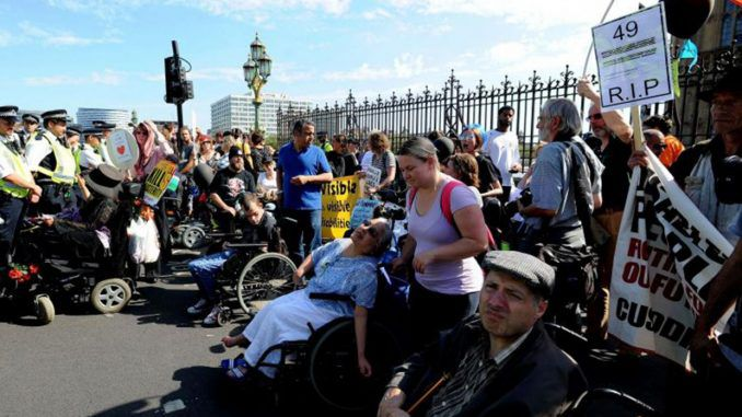 Westminster Bridge Closed By Disability Cuts Protesters
