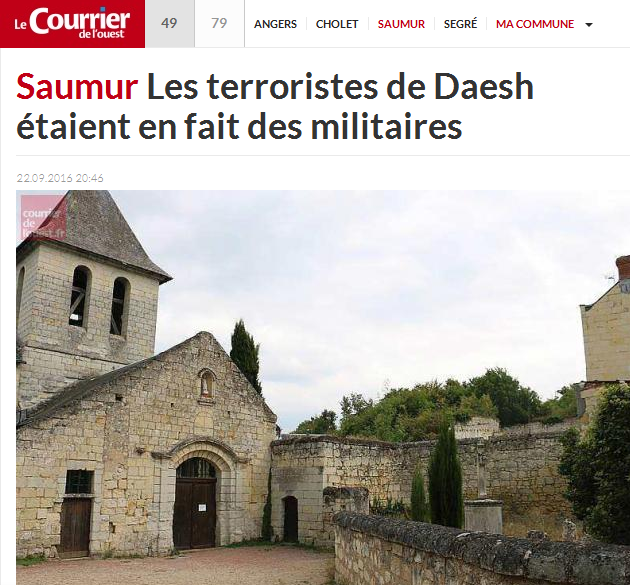 Gardeners employed by the town of Saumur were working at this church when they found the 'stash of Daesh' hidden a cave.