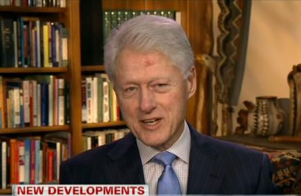 Bill Clinton appearing on CNN recently with an unexplained lesion on his forehead.