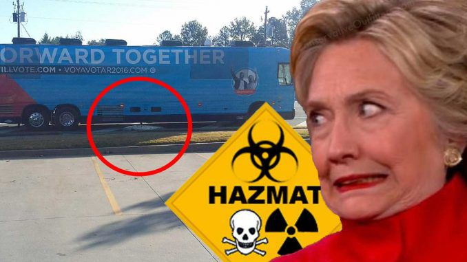 Image result for hillary clinton campaign bus dumps waste