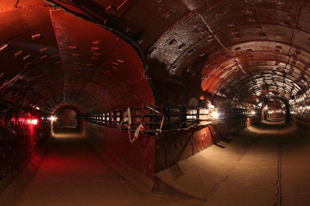 Tunnel leading to a bunker designed to protect Moscow citizens from nuclear Armageddon.