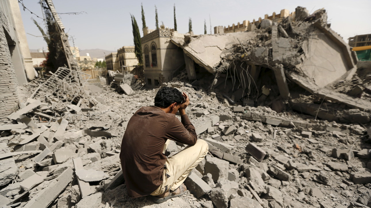 Warplanes from a Saudi-led coalition bombarded Yemen's Houthi-controlled capital Sanaa overnight as the country's warring factions prepared for talks expected to start in Geneva on Monday.