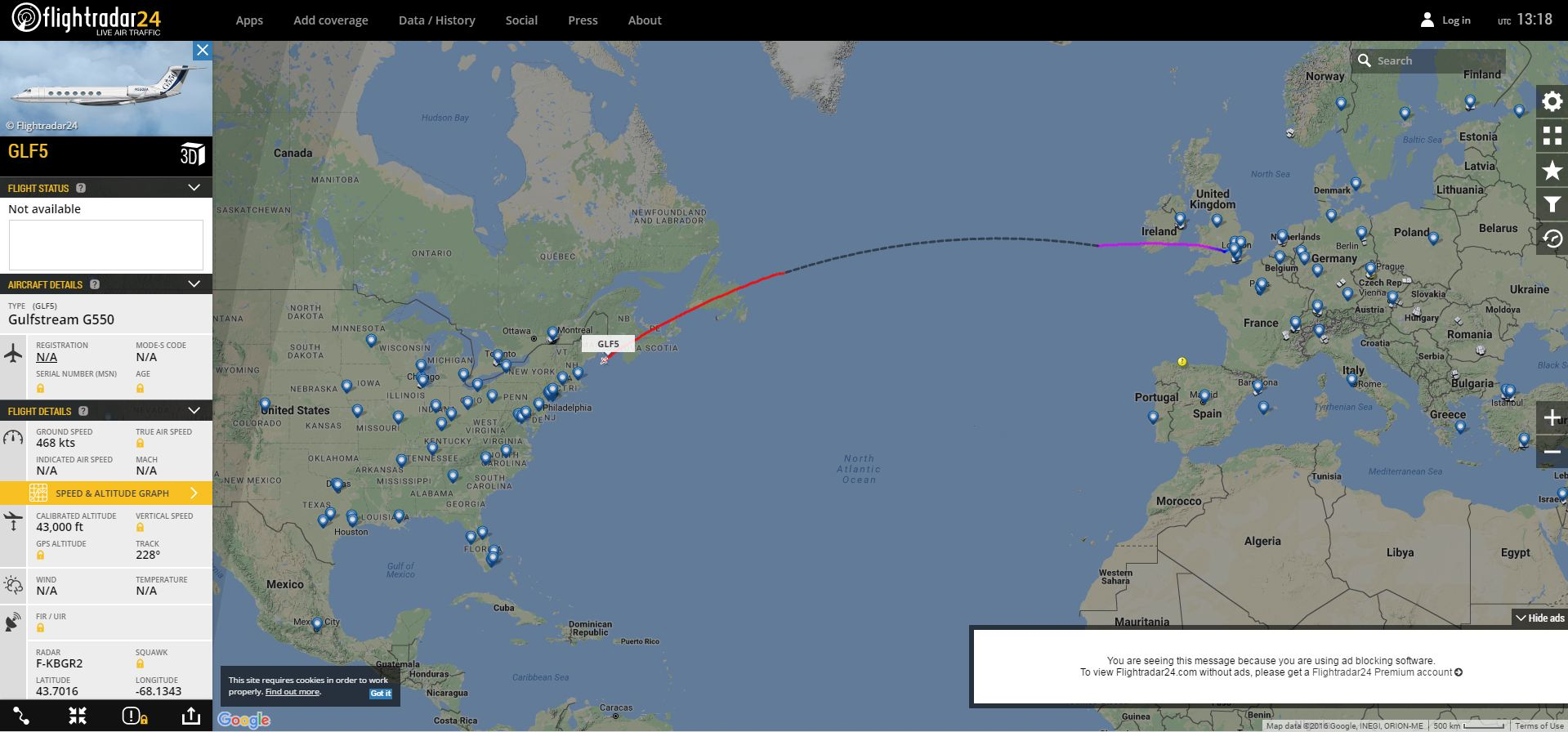 A screenshot from FlightRadar showing the journey of the plane with possible landing spots.