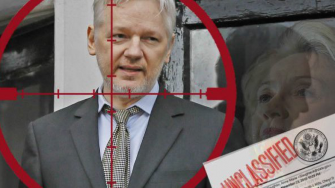 The US government cyber attacked the Ecuadorian embassy in London on Sunday to stop Julian Assange from releasing further Wikileaks emails.