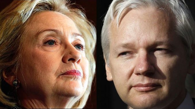Hillary Clinton has been linked by internet sleuths to a vicious attempt to frame Wikileaks founder Julian Assange as a pedophile and Russian spy.