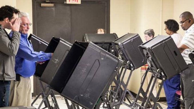 A voting machine has been caught on camera casting a ballot for a Democrat after the voter selected a Republican.