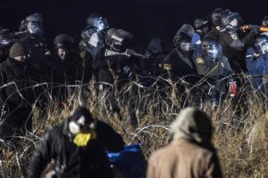 Police Use Water Cannon On Dakota Pipeline Protesters