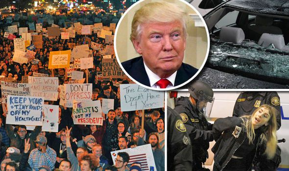Police Clash With Anti-Trump Protesters