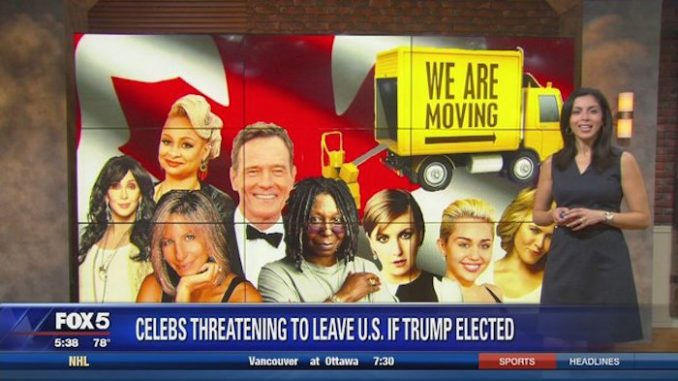 These 18 celebrities pledged to flee the United States in the event of a Trump win. Will they stick to it?