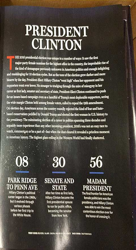 Back cover of upcoming Newsweek magazine declaring a Clinton victory