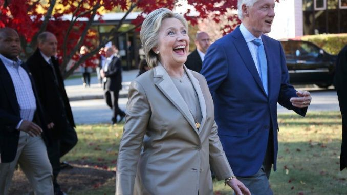 EXHAUSTED Hillary Clinton finally wrapped up a presidential campaign that began in the spring of 2015 by casting a ballot for herself in Chappaqua, New York today.