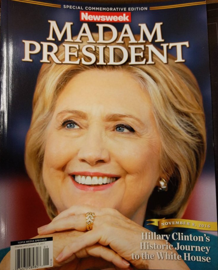 Front cover of Newsweek's 'Madam President' Special Edition depicting a Clinton victory due to hit newsstands next week