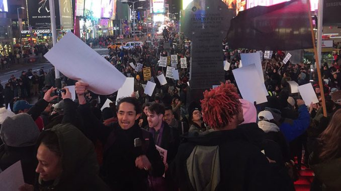 DAPL Protesters Occupy Times Square, Burn US Flag